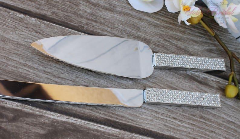 FAST SHIPPING Silver Swarovski Crystal Cake Knife and Server image 0