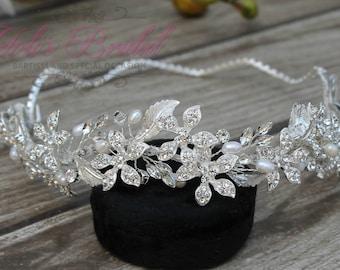 FAST SHIPPING!! Silver Swarovski Bridal Halo, Bridal Wreath, Bridal Hair Comb, Swarovski  Hair Comb, Crystal Hair Comb, Swarovski Hairband