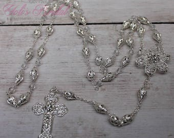 FAST SHIPPING!! Handcrafted Beautiful Silver Rosary, Communion Rosary, Rosary Gift, Confirmation Rosary, Christening Rosary, Baptism Rosary