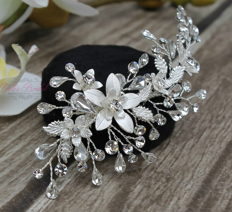 FAST SHIPPING Silver Bridal Hair Comb Silver Wedding Hair image 0