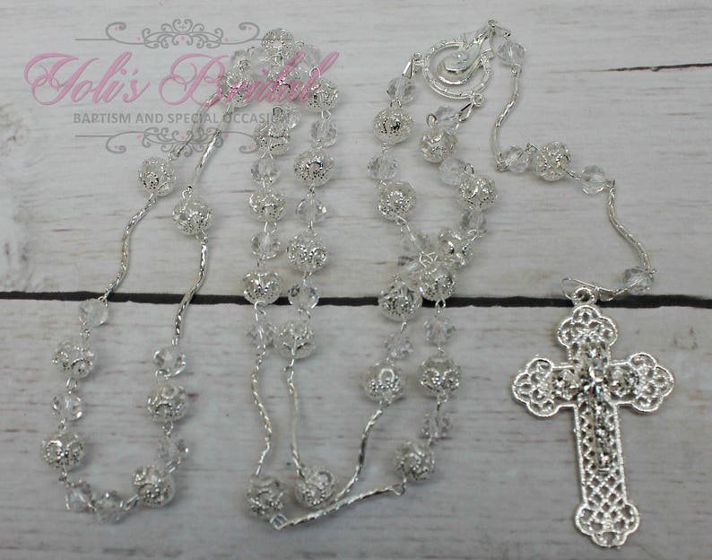 FAST SHIPPING Handcrafted Beautiful Silver Rosary Wedding image 1