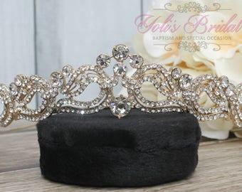 FAST SHIPPING!! Gold Swarovski Tiara, Crystal Tiara ,Wedding Tiara ,Crown , Princess Tiara, Crystal Headpiece, Corona, XV Tiara