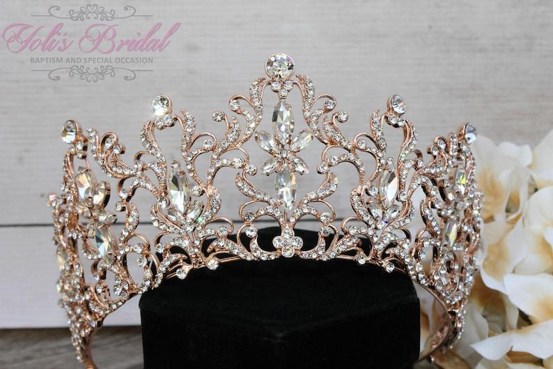 FAST Shipping  Rose Gold Swarovski Tiara  CristalTiara image 1