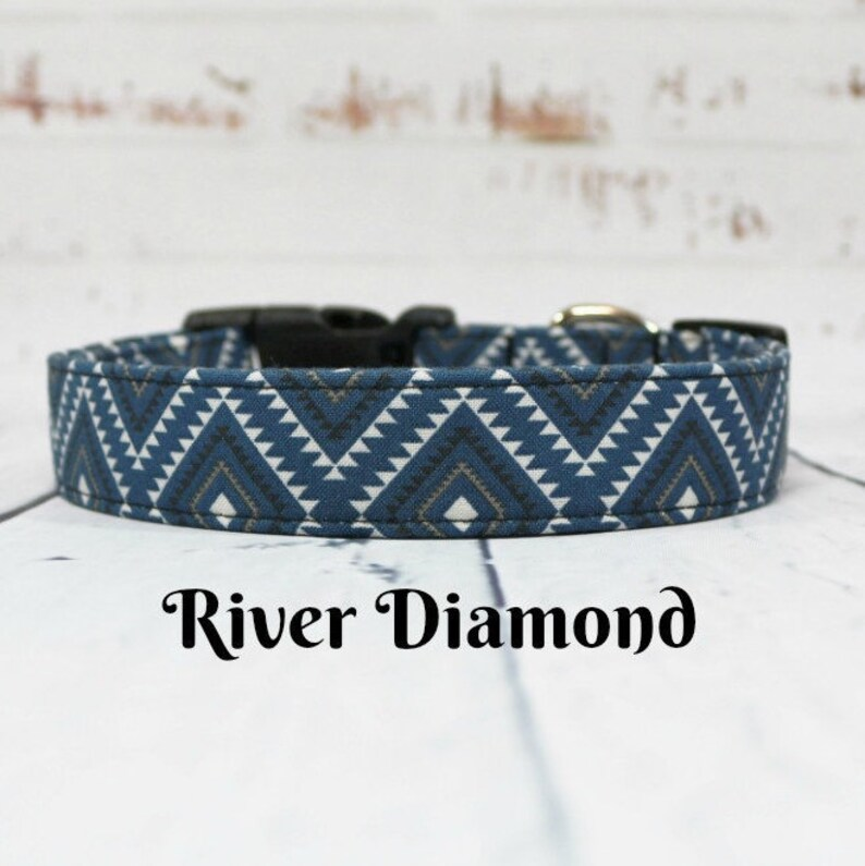 02eb192db0afbe Blue Aztec Dog Collar Handmade southwest style All