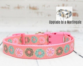 """Donuts Dog Collar Up-gradable To A Martingale, Leash and Collar Set, 1"""" Width Only"""