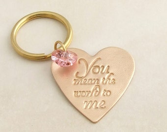 Heart Keyring, Love Key Chain, Handmade Bronze and Swarovski Keyring, 8th, 19th Wedding Anniversary Gift for Her, You Mean The World to Me