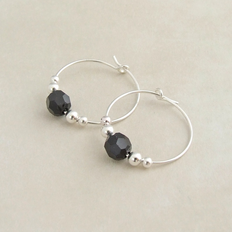 56d31568c Black and Sterling Silver Hoop Earrings Black Swarovski   Etsy