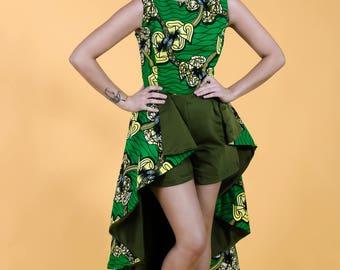 African Print Jumpsuit , High Low Ankara  Jumpsuit