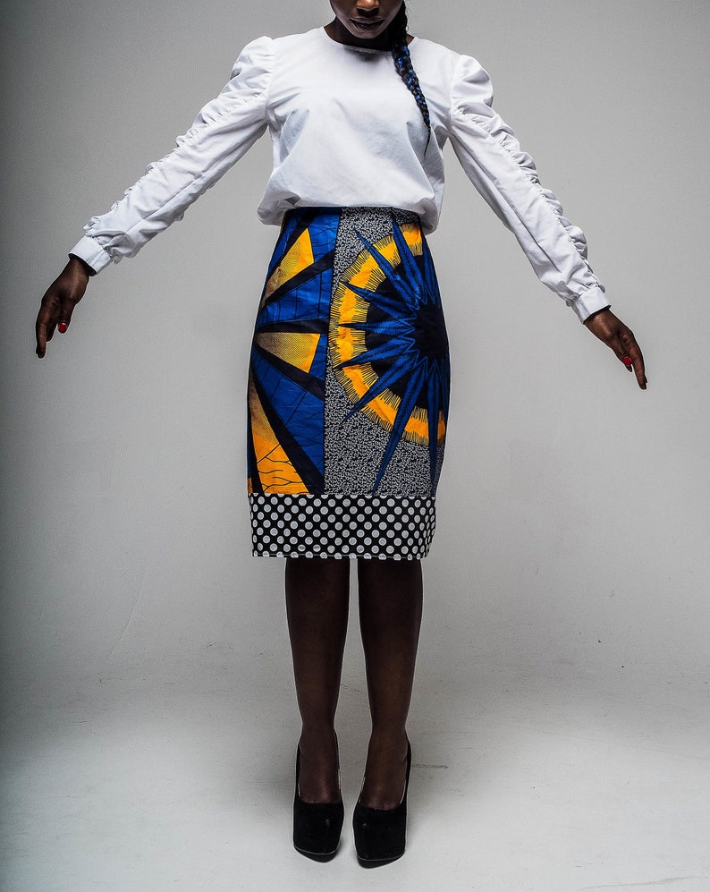 af1d42e71c African Print Pencil Skirt Size UK 14 Ankara Pencil Skirt with | Etsy