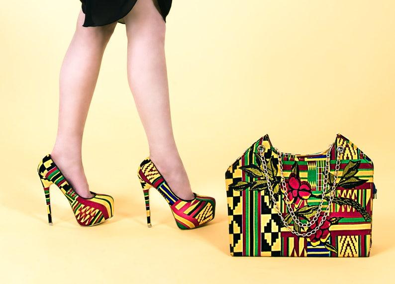 c53f0cbcc77a46 African print shoesAfrican print high heels UK Size 6 Kente