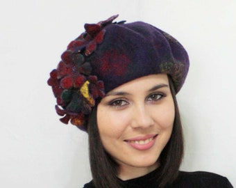 "beret ""Glee"" eco, natural, woolen, felt.Love, fashion, Beautiful, Gift, Handmade.Beret, Headdress, Accessory.felted beret"
