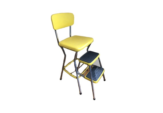 Prime Vintage Cosco Stylaire Sliding Step Chair Stool Yellow Vinyl Retro Seat Diner Kitchen 1960S Fab Atomic Barstool Local Boston Pickup Option Machost Co Dining Chair Design Ideas Machostcouk