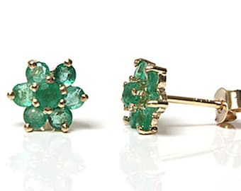 4d7897d53 Solid 9ct Gold Emerald cluster stud earrings with FREE Gift Box