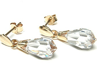 Solid 9ct Gold Opal Marquise Drop Dangly earrings with FREE Gift Box