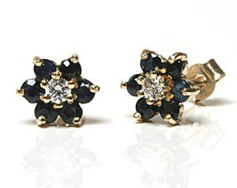 Solid 9ct Gold Sapphire and CZ cluster stud earrings with FREE Gift Box