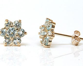Solid 9ct Gold Blue Topaz cluster stud earrings Gift Boxed S1804