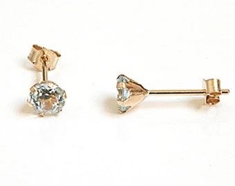 Solid 9ct Gold Blue Topaz 4mm Round Stud earrings S1054