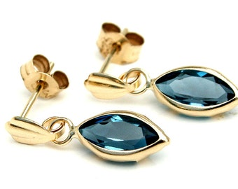 Solid 9ct Gold London Blue Topaz Marquise Drop Dangly earrings with FREE gift box