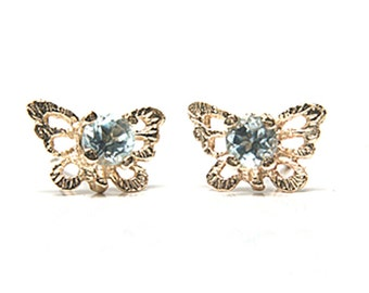 Solid 9ct Gold Blue Topaz filigree Butterfly Stud earrings S1621