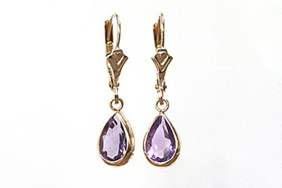 9ct Gold Lilac CZ Teardrop dangly Earrings Gift Boxed Made in UK