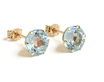 Solid 9ct Gold Blue Topaz 6mm Round Stud earrings S1197