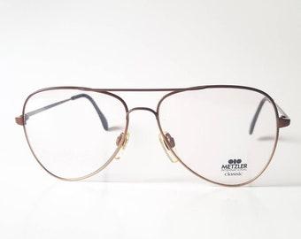 0a0e4699f1 Vintage Metzler International Classic Bronze Aviator Eyeglass Frame Circa  1980s