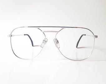 af2198d74d Vintage Metzler Silver with Black Inlay Square Aviator Eyeglass Frame Circa  1980s