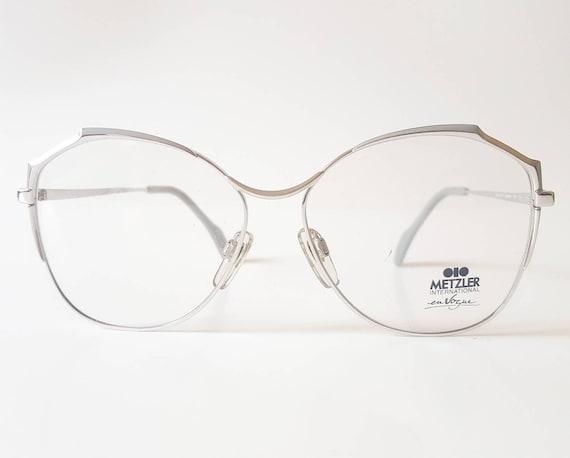 009ea4adf8 Vintage Metzler International en Vogue Silver Grey Butterfly Eyeglass Frame  Circa 1980s