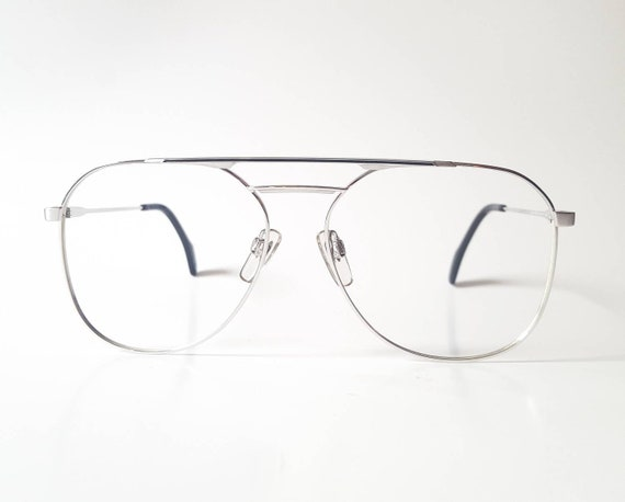 736b003a31 Vintage Metzler Silver with Black Inlay Square Aviator