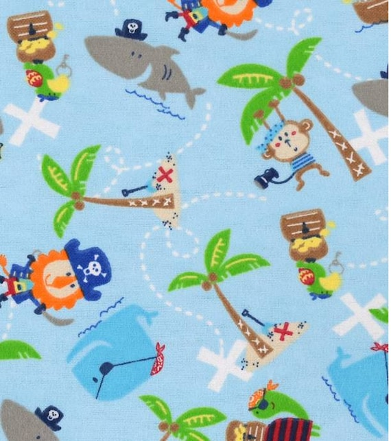 Pirate Snuggle Flannel - Ships and Treasure Snuggle Flannel - Ocean Flannel Fabric by the Yard