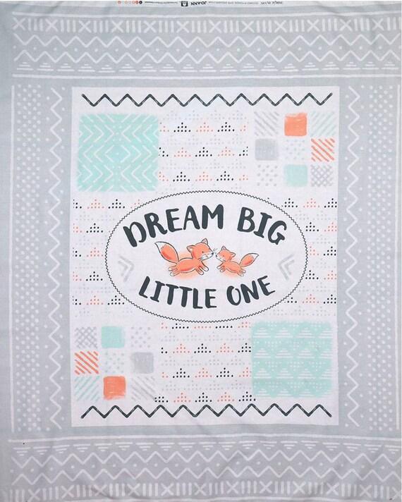 Fox Panel Cotton Fabric - Fox Baby Blanket Panel - Adventure Panel - Dream Big Little One Blanket Fabric