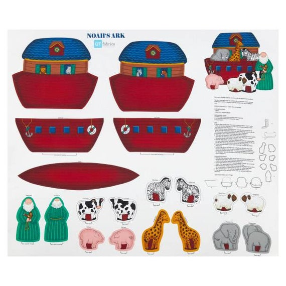 Noahs Ark Panel Fabric - Noahs Ark Stuffed Toy - Baby Toy Panel