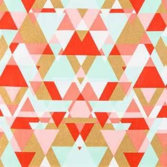 Mint and Coral Fapric - Triangles Fabric - Quilting Cotton - Apparel Fabric
