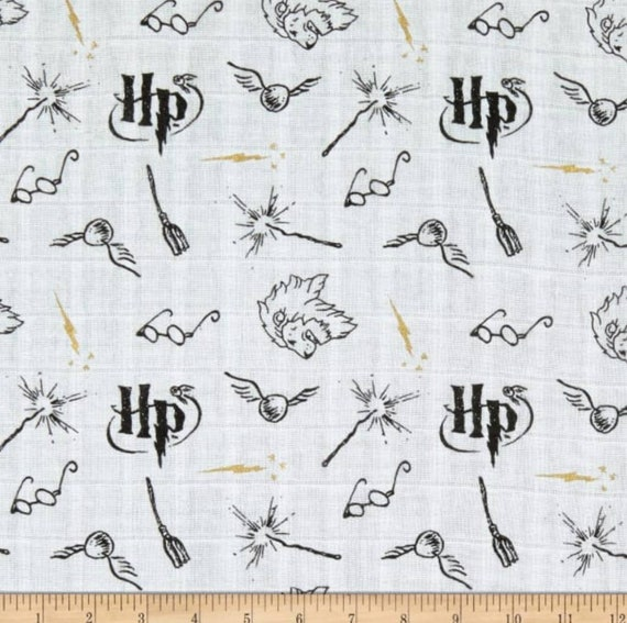 Harry Potter Double Gauze Fabric - Harry Potter Baby Fabric - Harry Potter Lightning Bolt Fabric - Harry Potter Swaddle Fabric