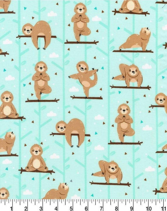 Turquoise Sloth Fabric by the Yard - Yoga Sloth - Cute Sloth Fabric
