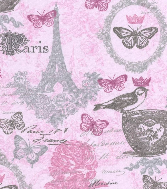 Paris Butterfly Snuggle Flannel - Pink Snuggle Flannel - Girl Flannel Fabric by the Yard