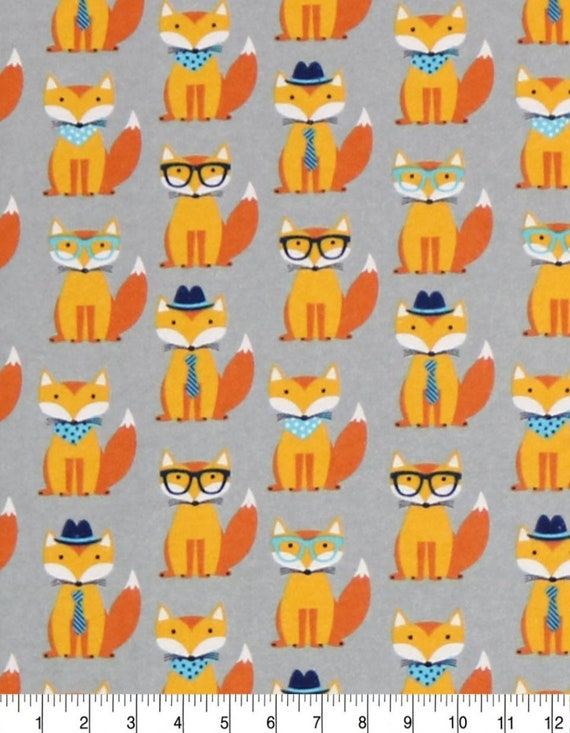 Foxes with Glasses Flannel Fabric - Cute Foxes - Orange Foxes on Gray