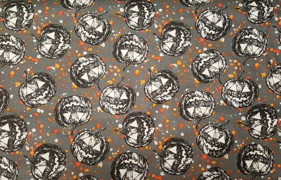 Pumpkin Fabric - Pumpkin Halloween Fabric - Jack o Lantern - Cotton Halloween - Halloween Fabric