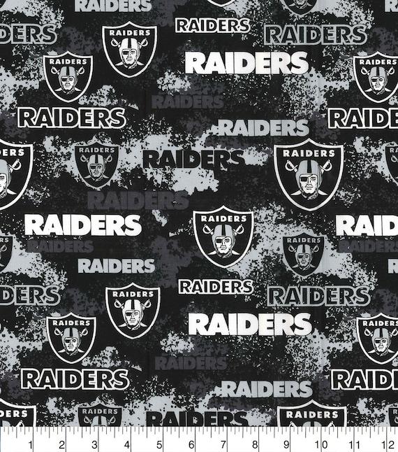 Raiders Fabric - Black Raiders Fabric - NFL Football Fabric