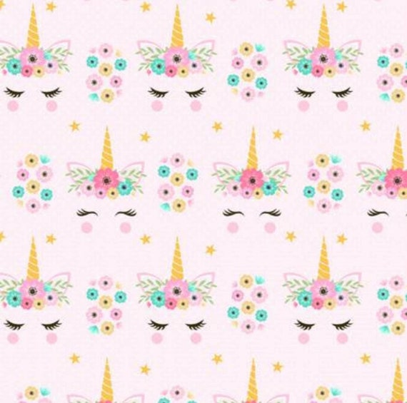 Floral Unicorn Fabric - Unicorn Fabric - Pink Unicorn Fabric - Flowers and Unicorn Fabric - By the Yard