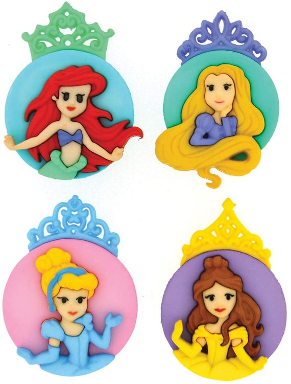 Princess Buttons - Kids Buttons - Little Mermaid - Rapunzel Buttons - Cinderella Buttons - Beauty and the Beast Buttons