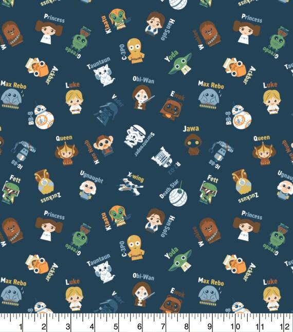 Star Wars Kawaii Fabric - Star Wars Cartoon Fabric - Yoda - Death Star - Luke Skywalker - Princess Leia - C-3PO - Han Solo - Rey - Kylo Ren