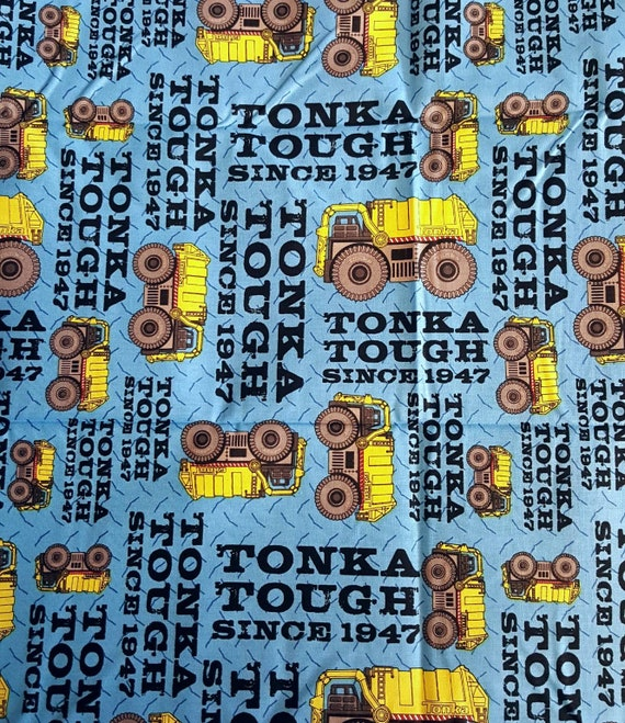 Tonka Truck Fabric - Quilting Cotton - Yellow Dump Truck Fabric - Construction