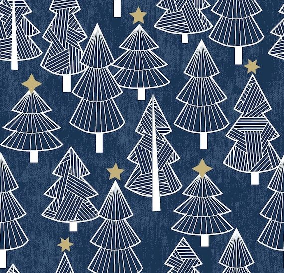 Blue Christmas Tree Fabric - Christmas Tree Fabric - Christmas Fabric - Gold Stars and Christmas Trees