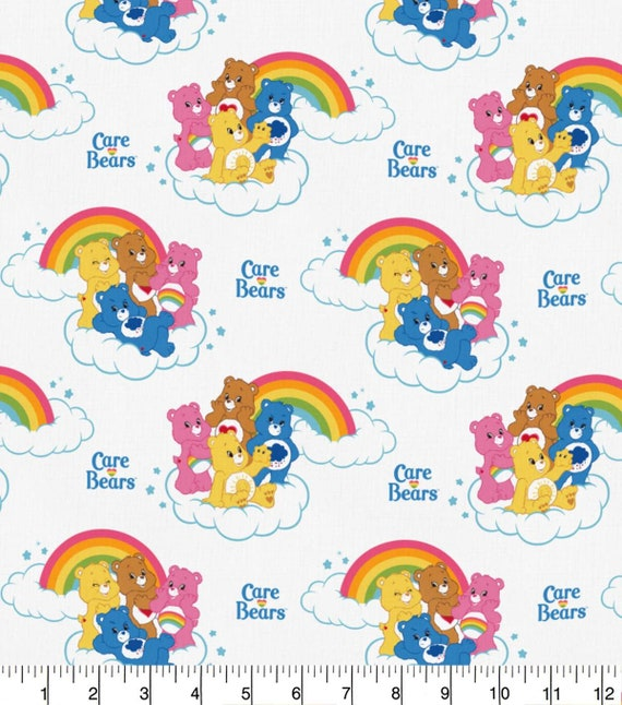 Care Bears Fabric - Bed Time Bear Fabric - Grumpy Bear - Birthday - Cheer - Friend - Funshine - Good Luck - Love-a-lot - Tenderheart - Wish