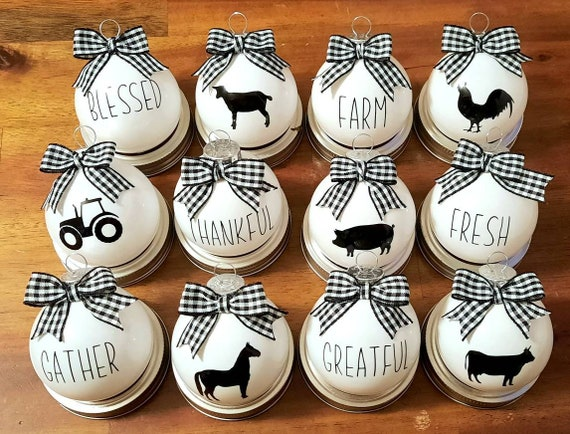 Farmhouse Christmas Ornaments - Rae Dunn Inspired Christmas Ornaments - Rustic Christmas - Horse - Pig - Sheep - Rooster - Tractor - Cow