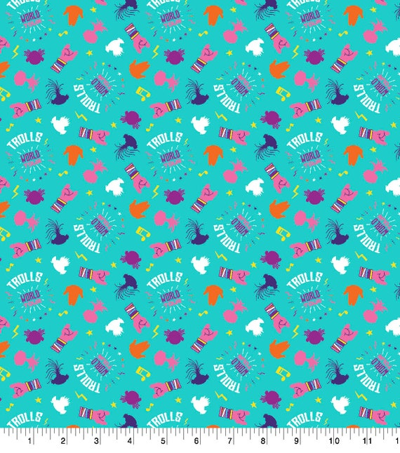 Trolls World Tour Fabric - Teal Trolls Fabric