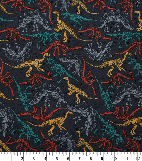 Dinosaur Jungle Fabric - Quilting Cotton - Raptor Fabric - Triceratops - Long Neck Fabric - Dinosaur Fabric