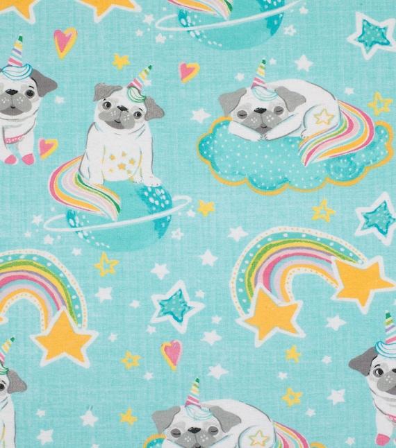 Unicorn Pug Flannel Fabric - Unipug - Flannel Baby Fabric - Rainbows and Unicorns