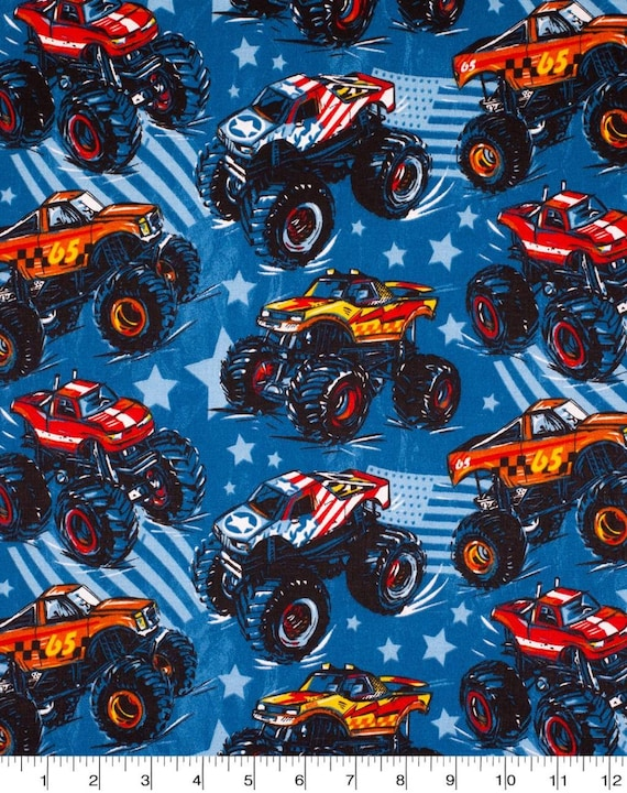 Monster Truck Fabric - Race Truck Fabric - Monster Truck Rally Fabric - Patriotic Fabric